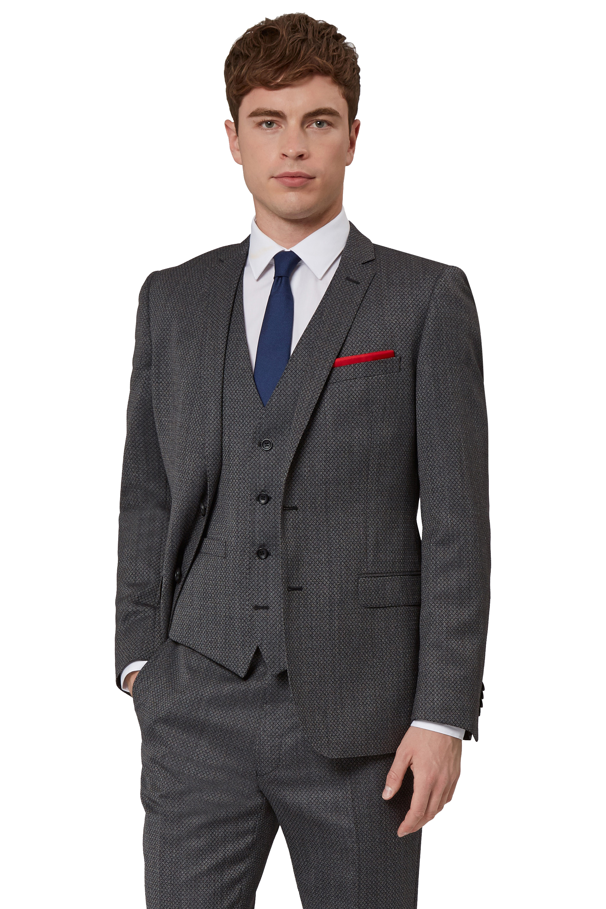 French Connection Mens Grey Suit Jacket Slim Fit Charcoal Jacquard ...
