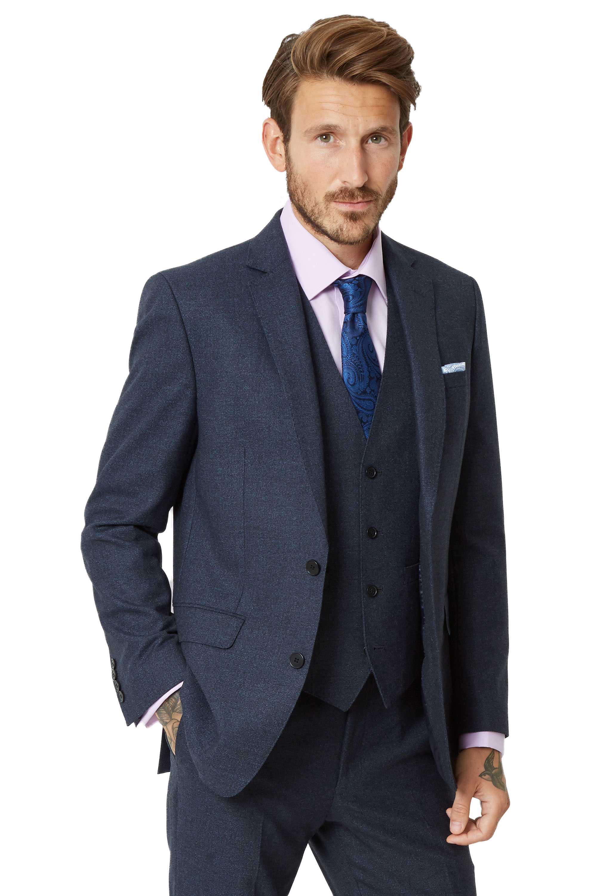 Moss 1851 Mens Ink Blue Suit Jacket Tailored Fit Textured Wool Two ...