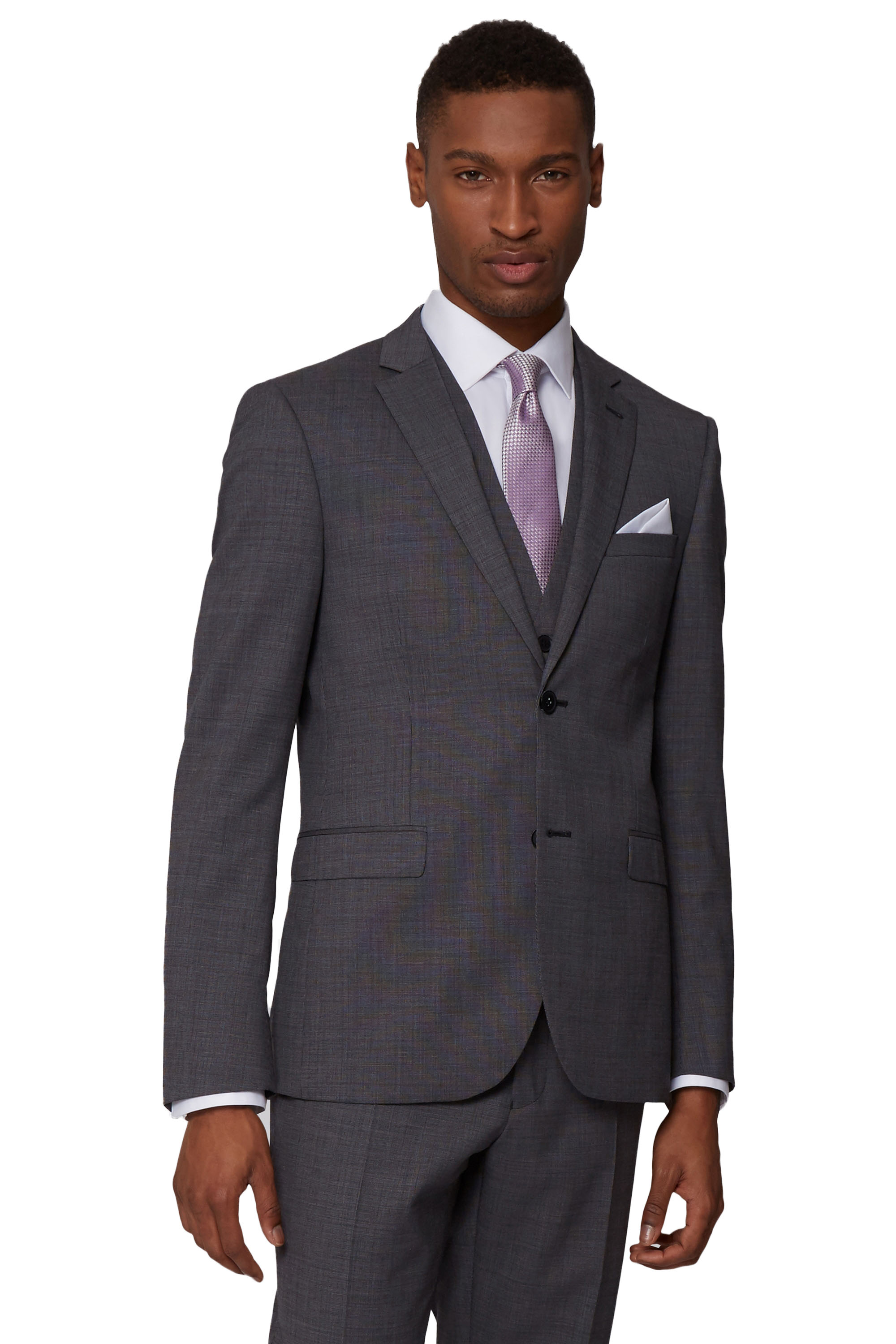 DKNY Mens Charcoal Grey Suit Jacket Slim Fit Nailhead Weave Two ...