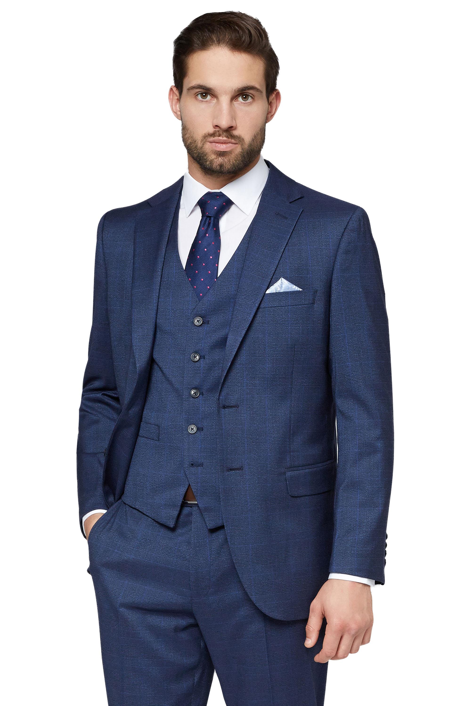 Moss Esq. Mens Navy Blue Check Suit Jacket Regular Fit 2 Button ...