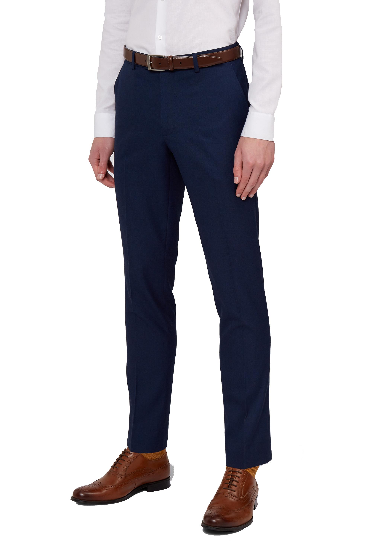 Moss London Mens Navy Blue Suit Trousers Slim Fit Pindot Formal Pants | EBay