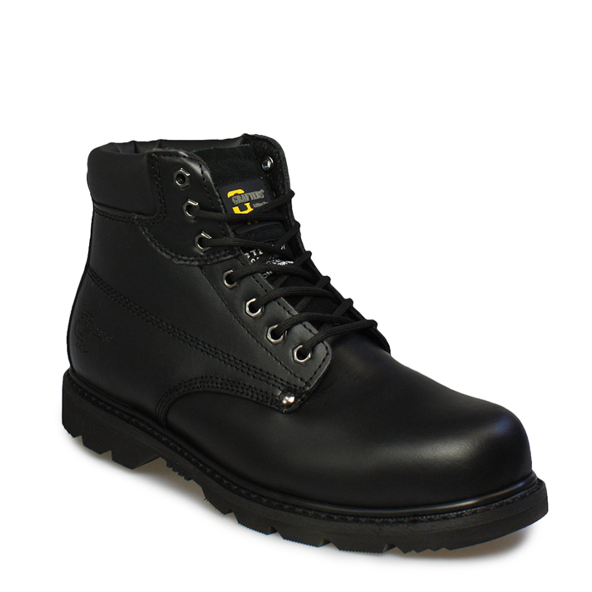 grafters mens boots lace up leather casual padded black
