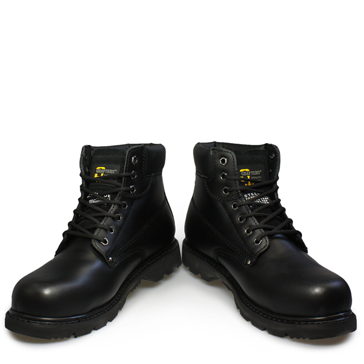 Mens Safety Work Shoes Black Leather Grafters