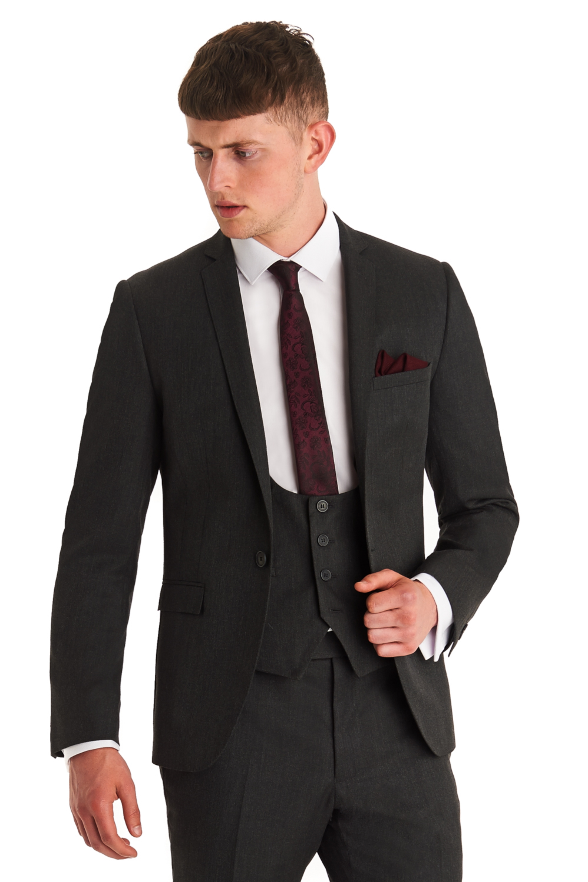 Moss London Mens Grey Suit Jacket Slim Fit Single Breasted ...