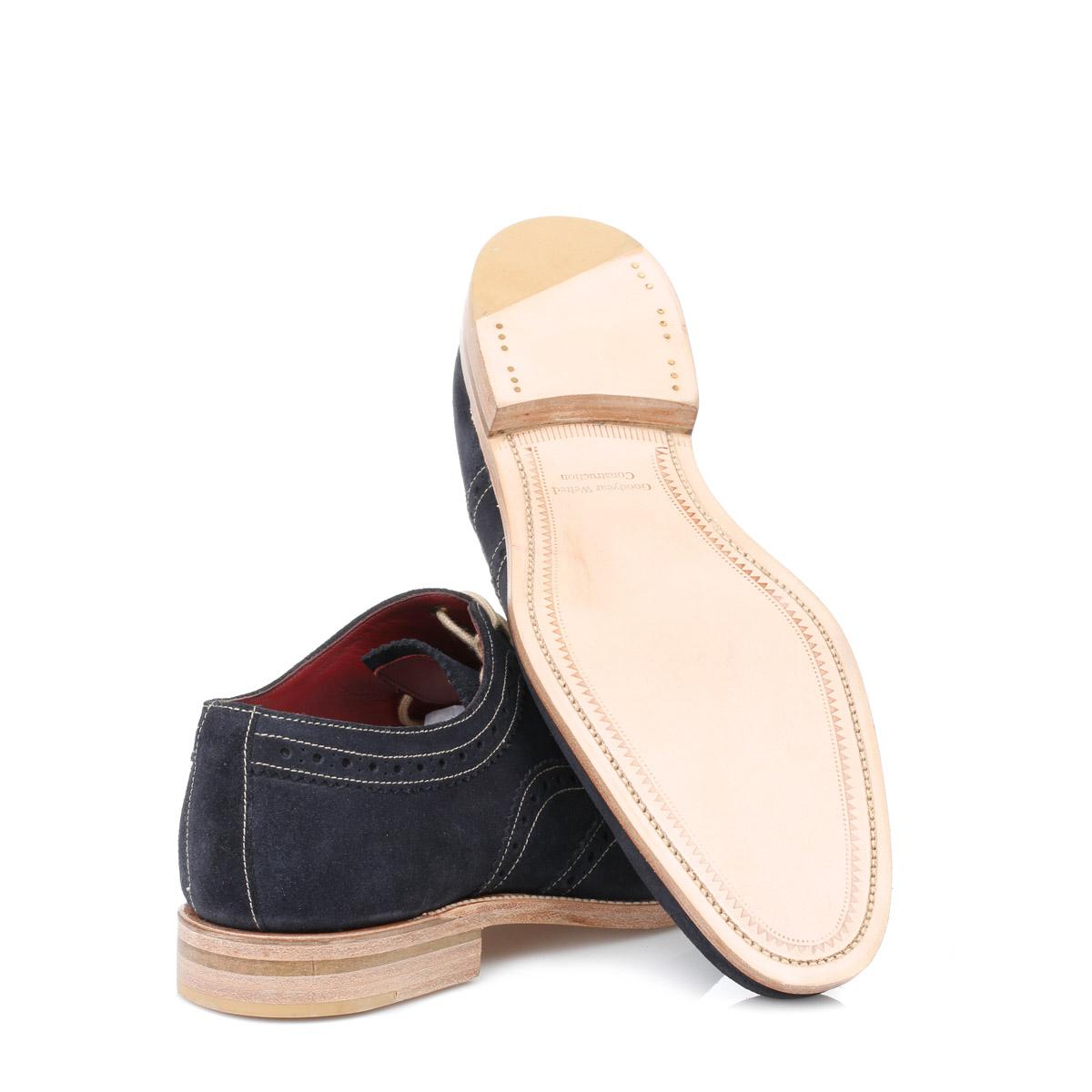 Loake Cream Beige Suede Mens Brogue Shoes