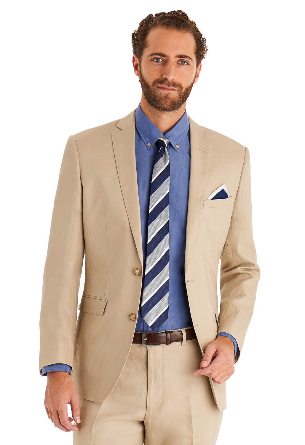 Moss 1851 Men Beige Suit Jacket Tailored Fit Single Breasted Linen ...