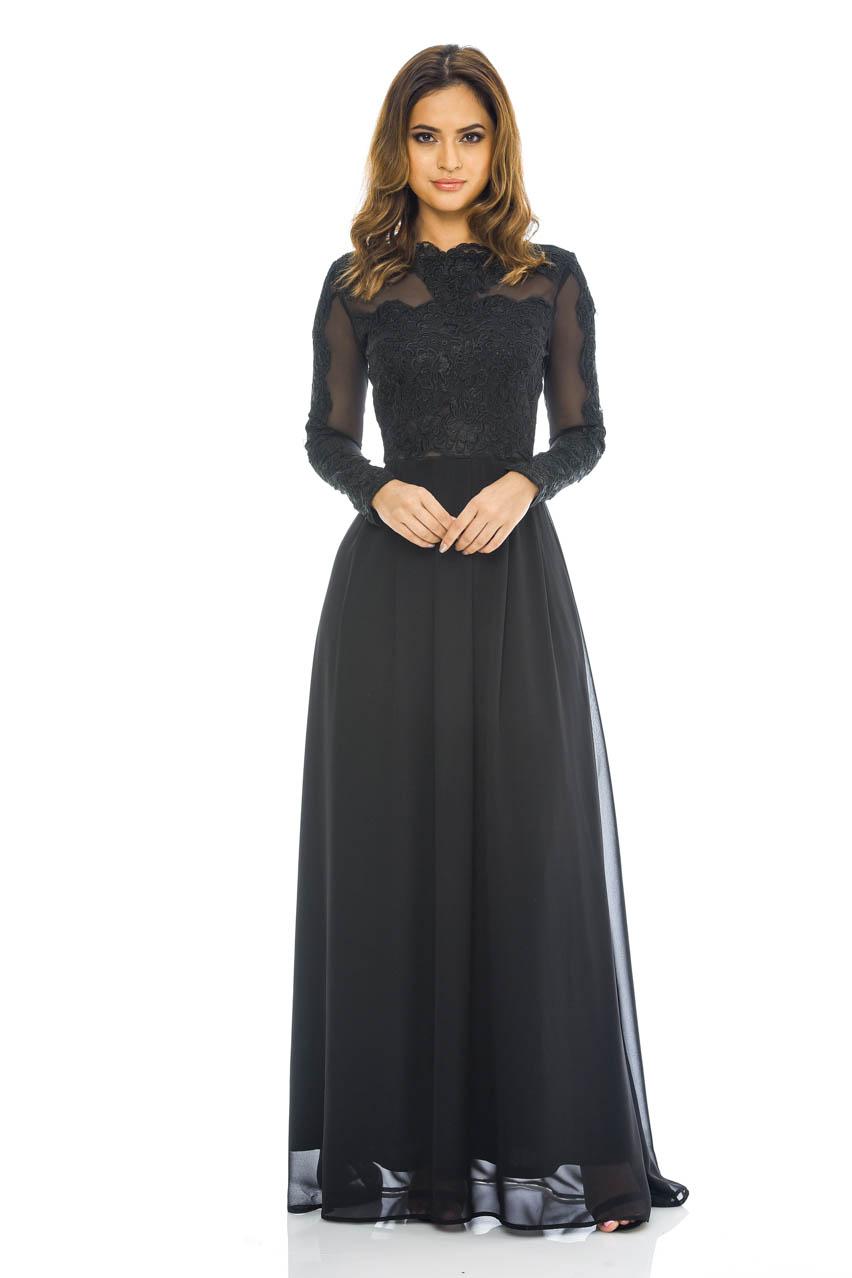 ax paris womens black chiffon maxi dress lace amp mesh top