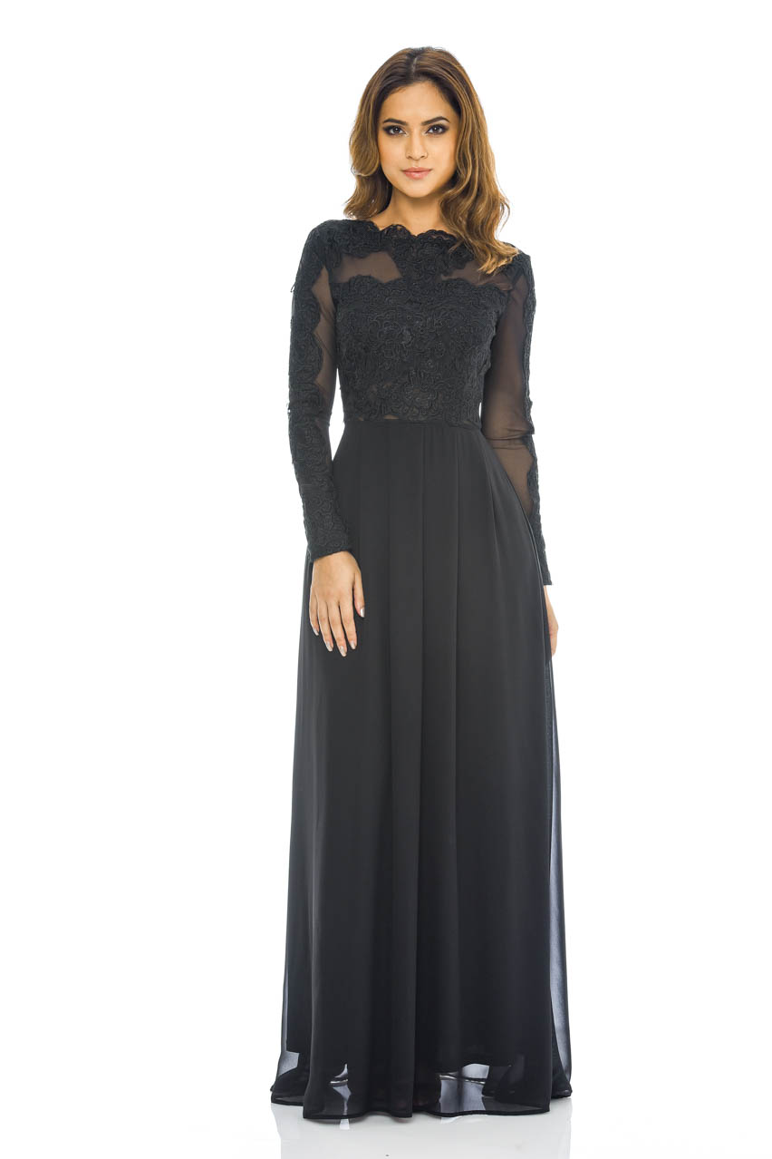 ax paris womens black chiffon maxi dress lace amp mesh top