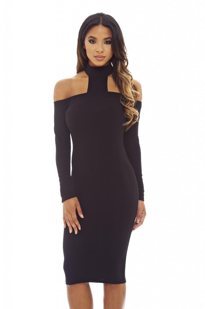 Midi black cocktail dress