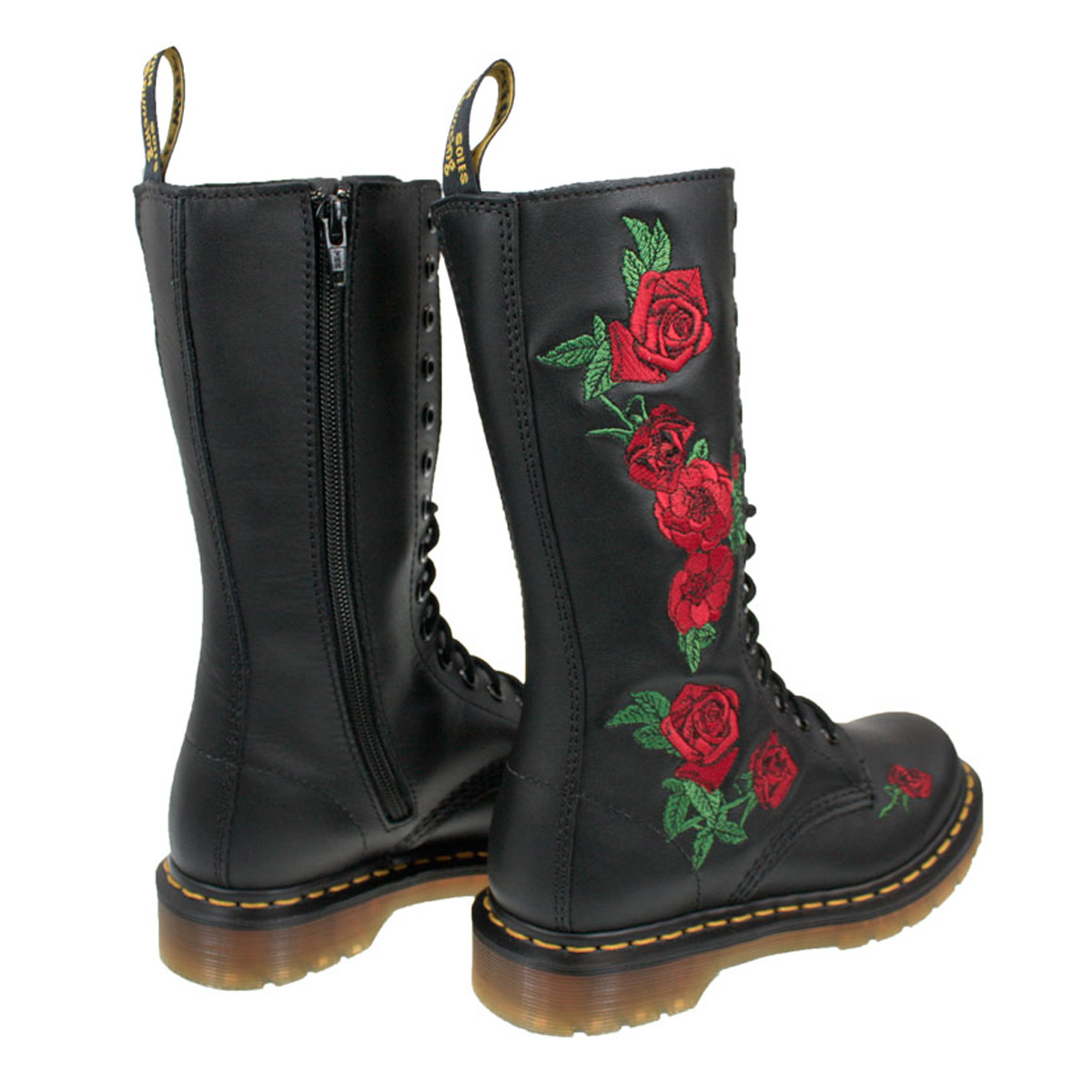 5eb9da8b33e8 Dr. Martens Vonda Womens Docs Black Leather Mid Calf Boots Lace Up ...