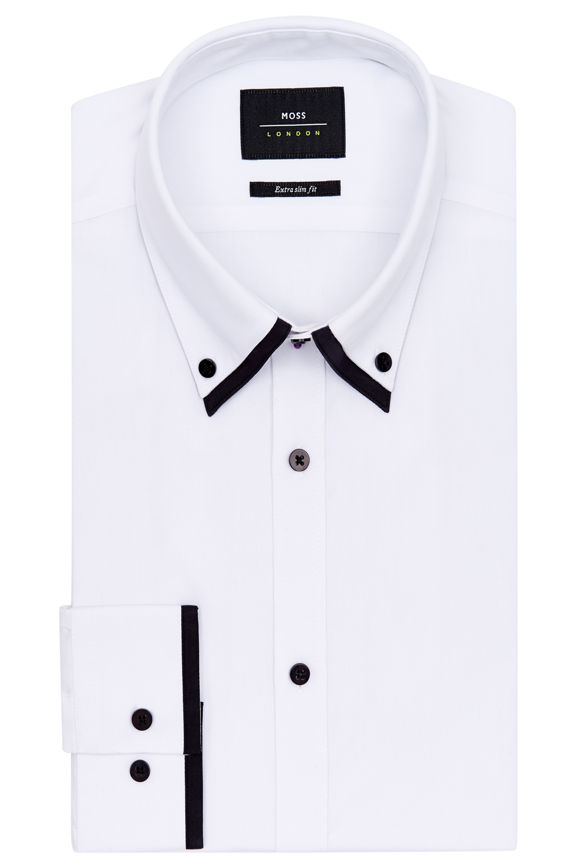 Moss london mens white and black shirt slim fit double for Pin collar shirt double cuff