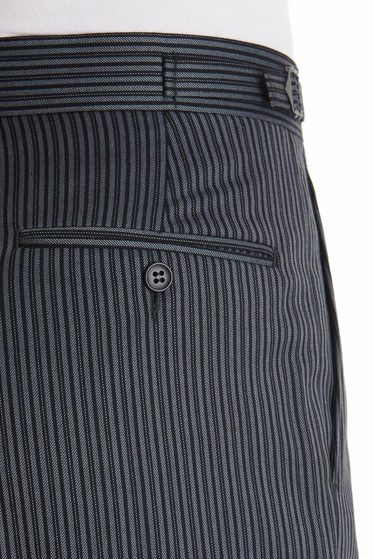 Moss Bros Mens Grey Black Striped Trousers Regular Fit Pleat Front Formal Pants Ebay