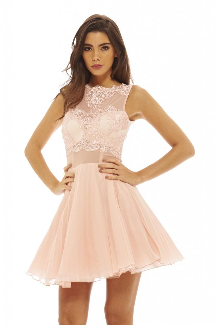 Coral Halterneck Strappy Lace Detail Maxi Dress - AX Paris