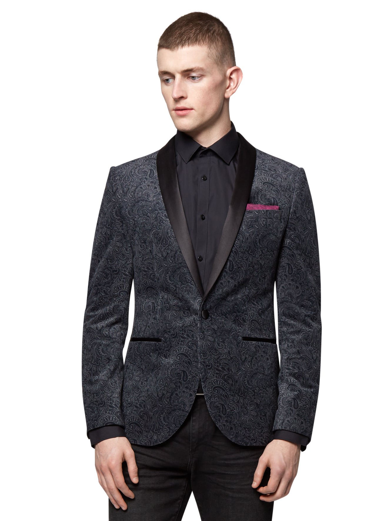 Moss London Mens Grey Suit Jacket Paisley Velvet Blazer Slim Fit ...