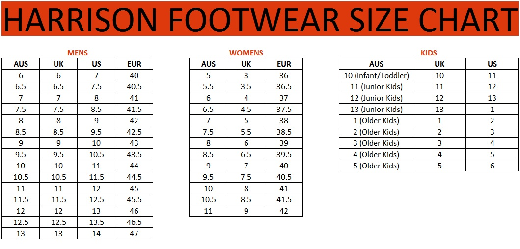 G Force Shoe Size Chart