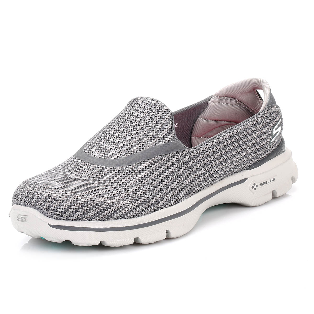 502c15dc59a0 Skechers Womens Trainers Charcoal Grey Go Walk 3 Slip On Sport ...