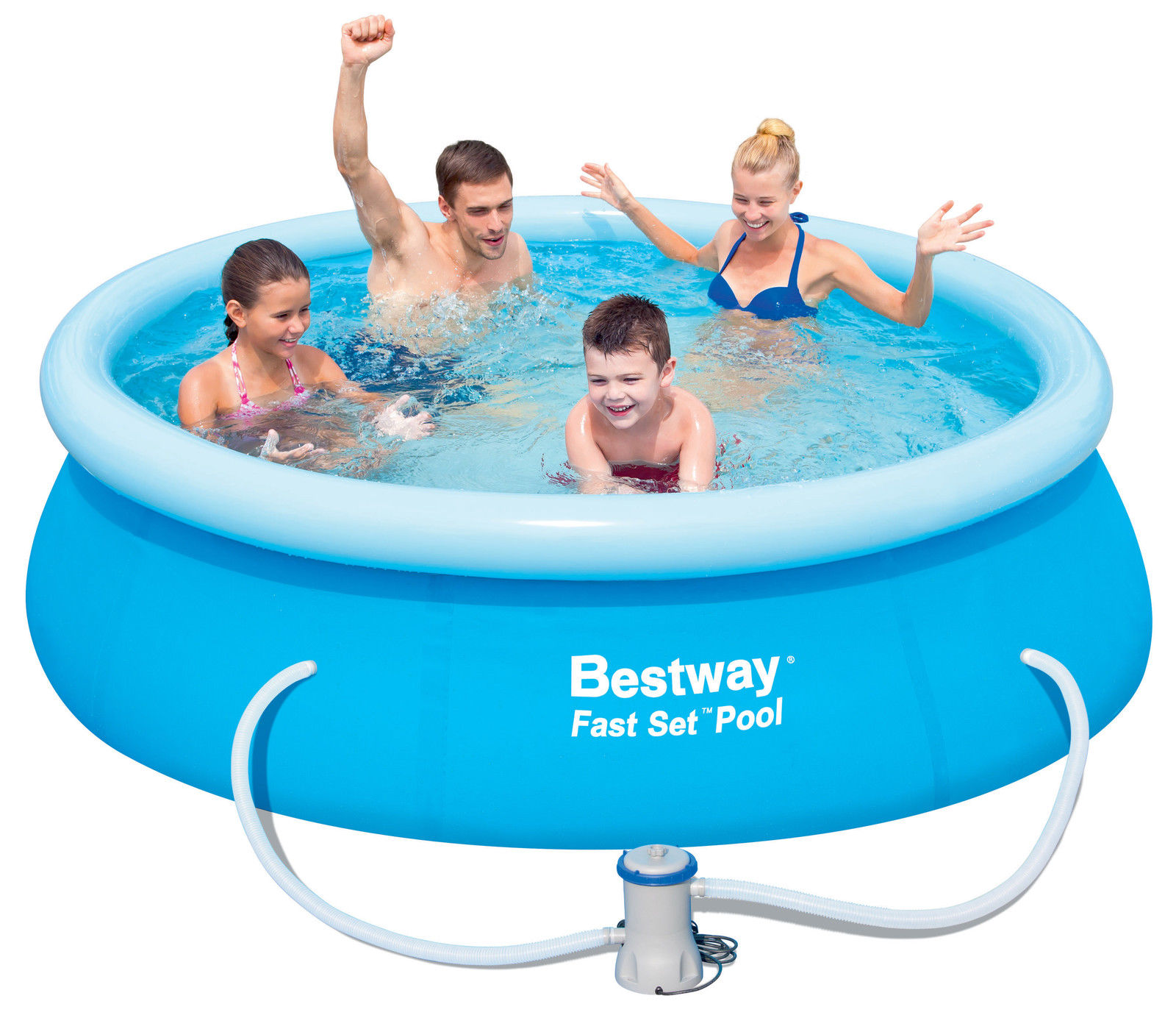 Bestway Fast Set Round Pool Outdoor Family Swimming Filter Pump 8ft 10ft 12ft Ebay
