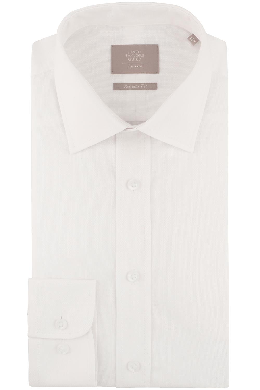 Savoy taylors guild mens white formal dress shirt regular for Single cuff dress shirt