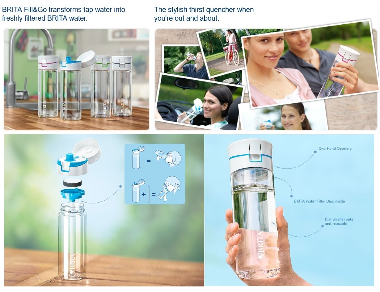 brita fill go filtered water sports bottle 600ml bpa free with 4 discs. Black Bedroom Furniture Sets. Home Design Ideas