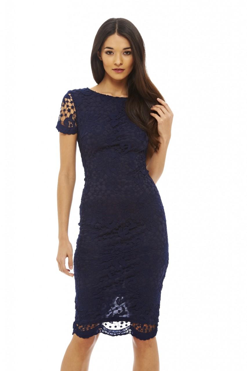 AX Paris Womens Crochet Lace Midi Bodycon Dress, Navy, Ladies ...