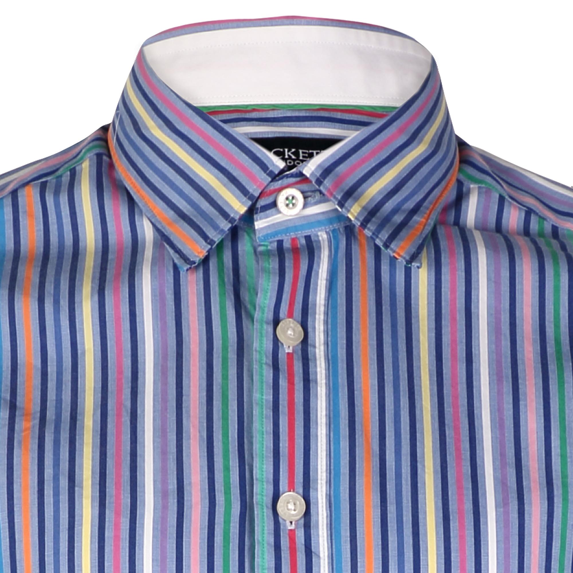 Hackett bright multi coloured stripe mens shirt ebay for Good mens dress shirts
