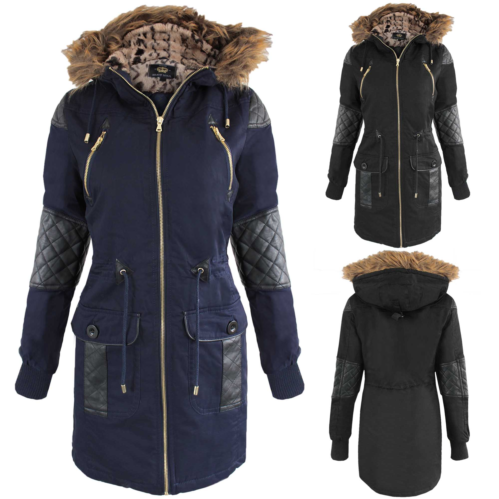neu damen schwarz pu rand pelzfutter kapuze parka jacke mantel milit r look ebay. Black Bedroom Furniture Sets. Home Design Ideas