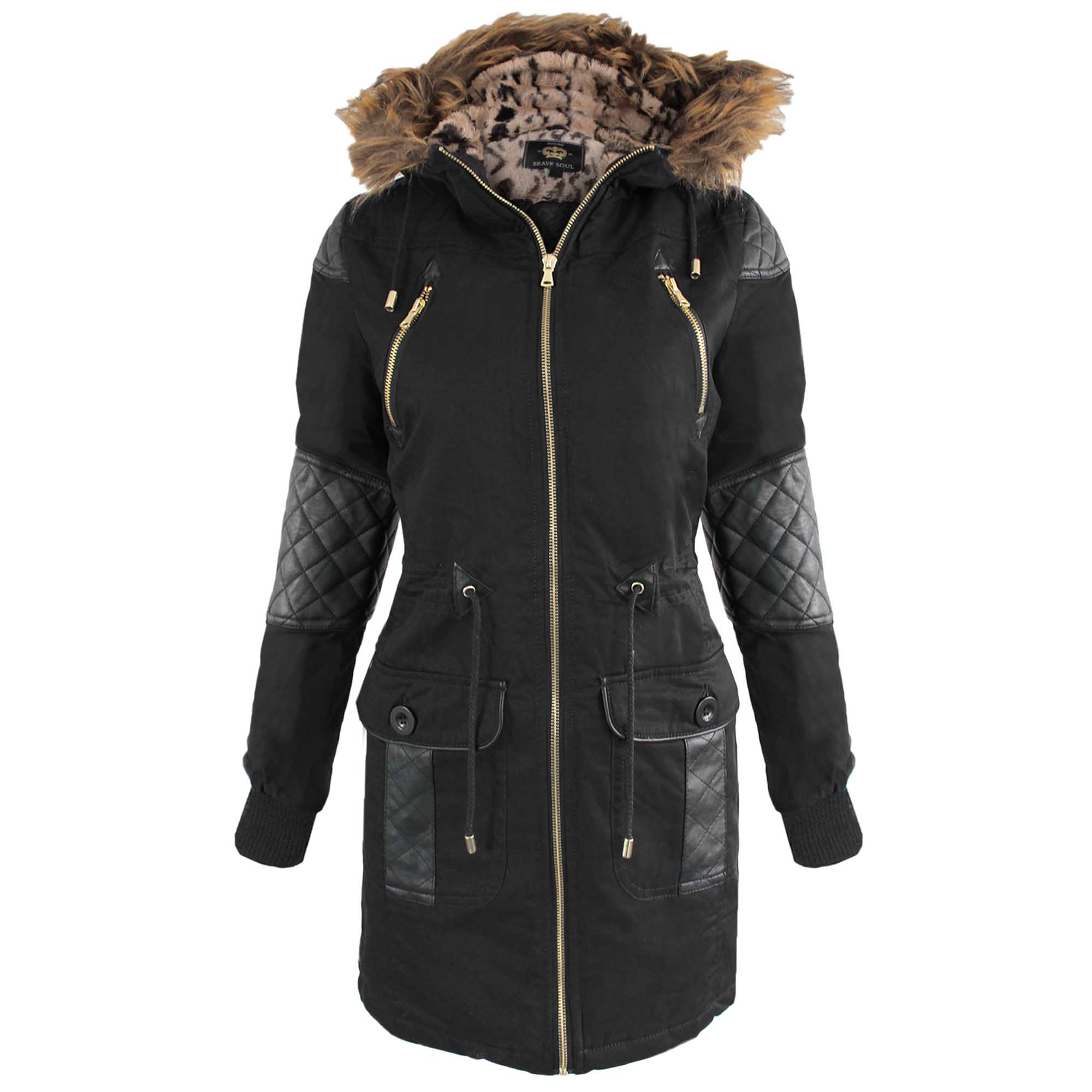 NEW WOMENS BLACK PU TRIM FUR LINED HOOD PARKA LADIES JACKET COAT