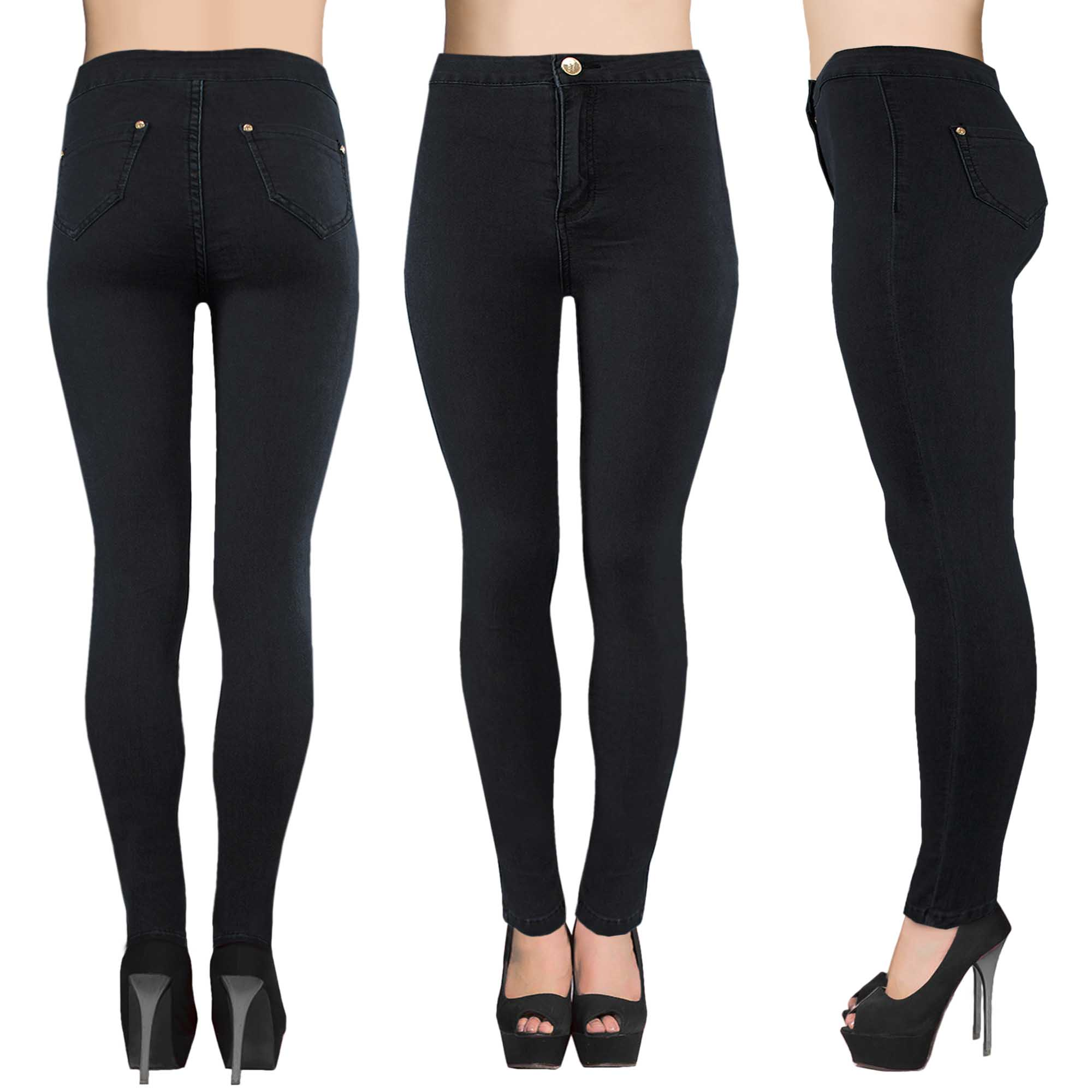 LADIES HIGH WAISTED BLACK TUBE JEANS WOMENS STRETCH DENIM SKINNY ...