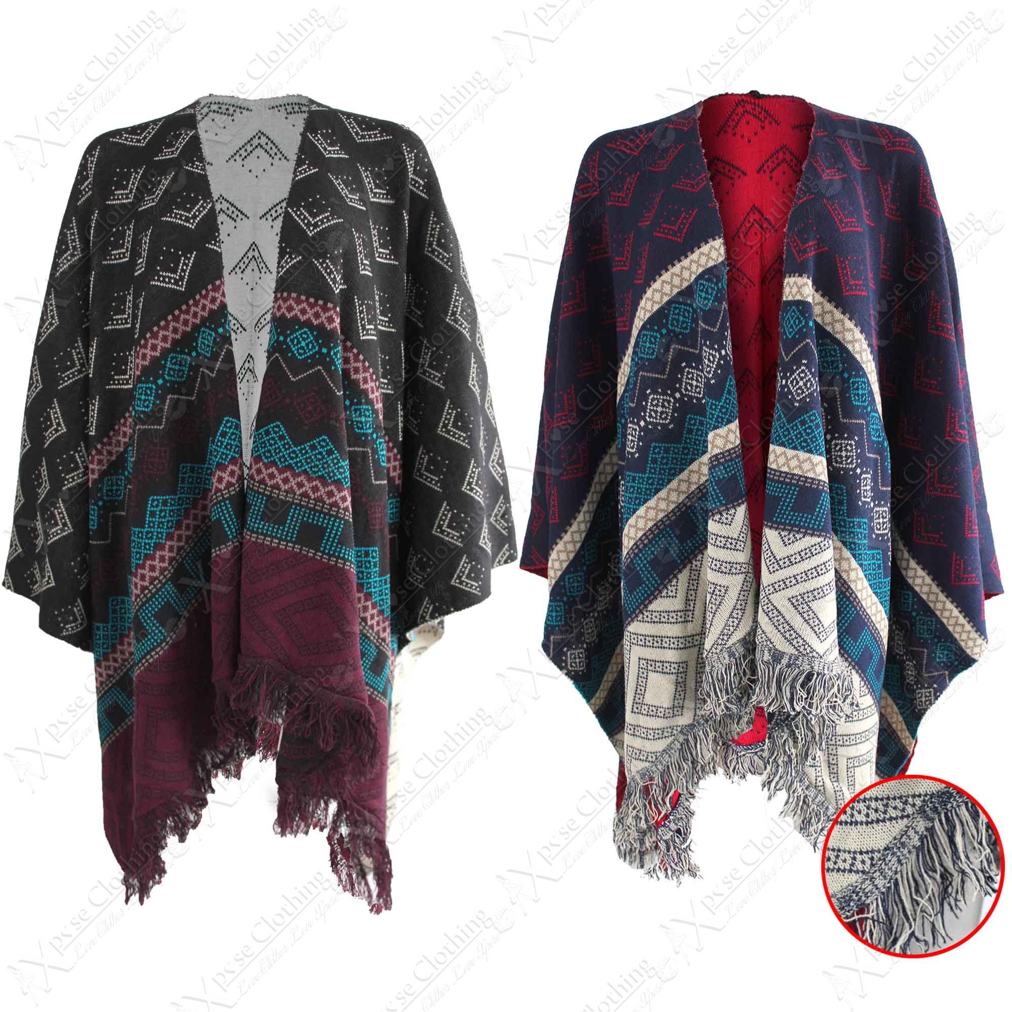 REVERSABLE AZTEC PRINT KNITTED CAPE WOMEN WARM BLANKET WRAP FRINGE KIMONO PON...