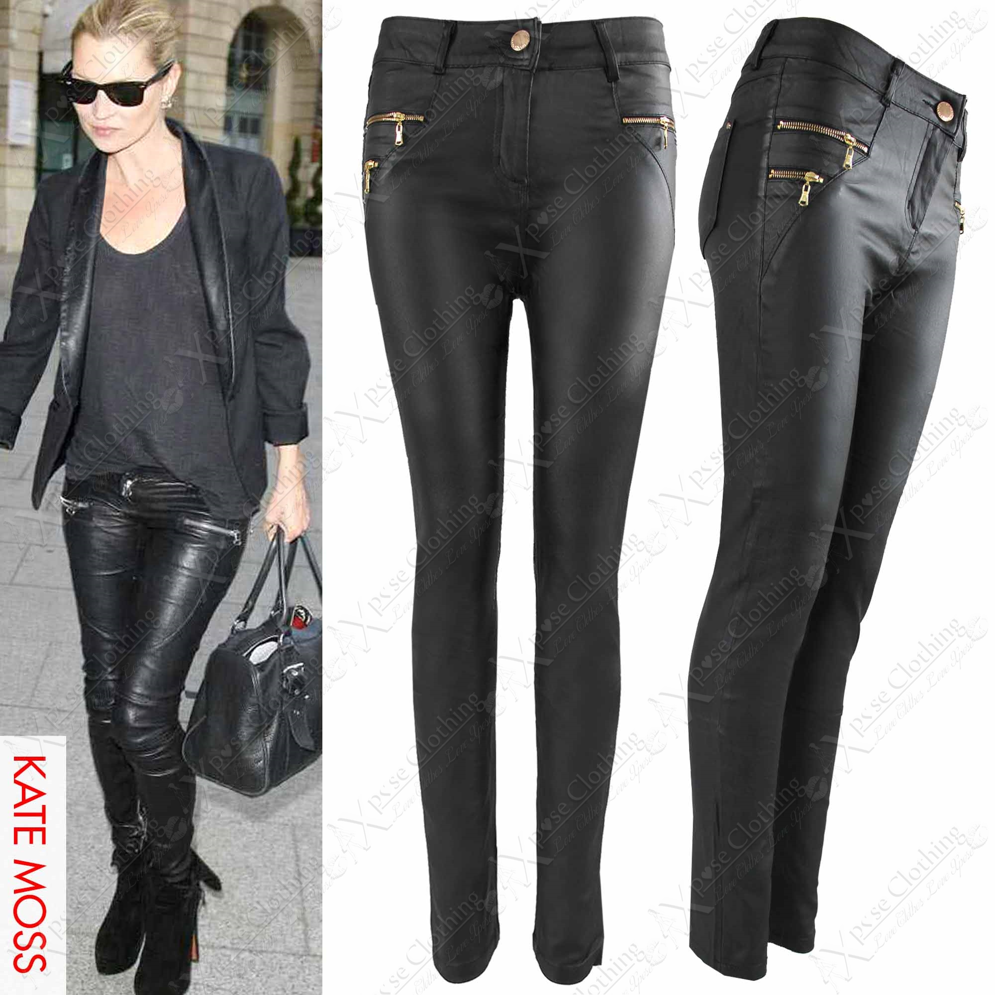 WOMENS LADIES BLACK PU ZIP BIKER JEANS LEATHER LOOK SKINNY STRETCH ...