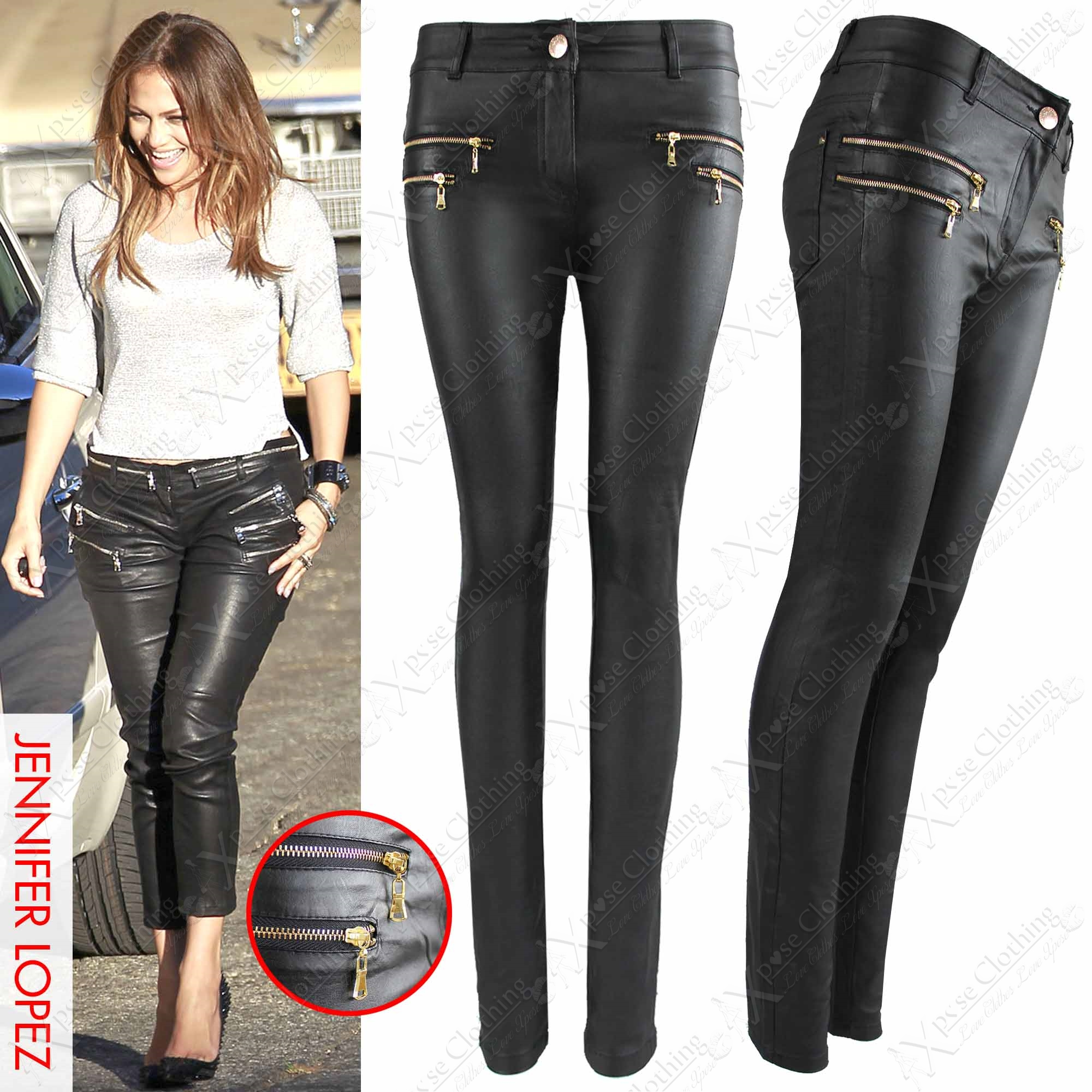 NEW WOMEN LADIES BLACK PU ZIPS JEANS LEATHER WET LOOK SKINNY ...