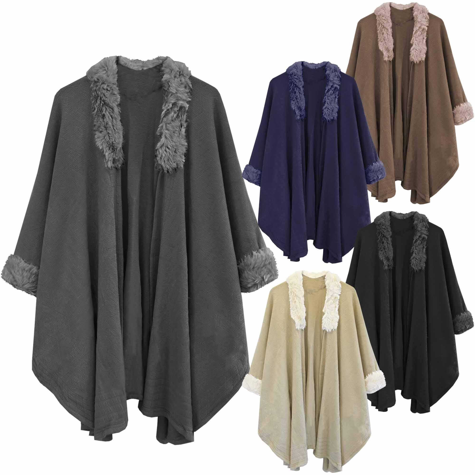 WOMEN LADIES BLACK CAPE WOOL FUR COLLAR BLANKET COAT WINTER JACKET ...