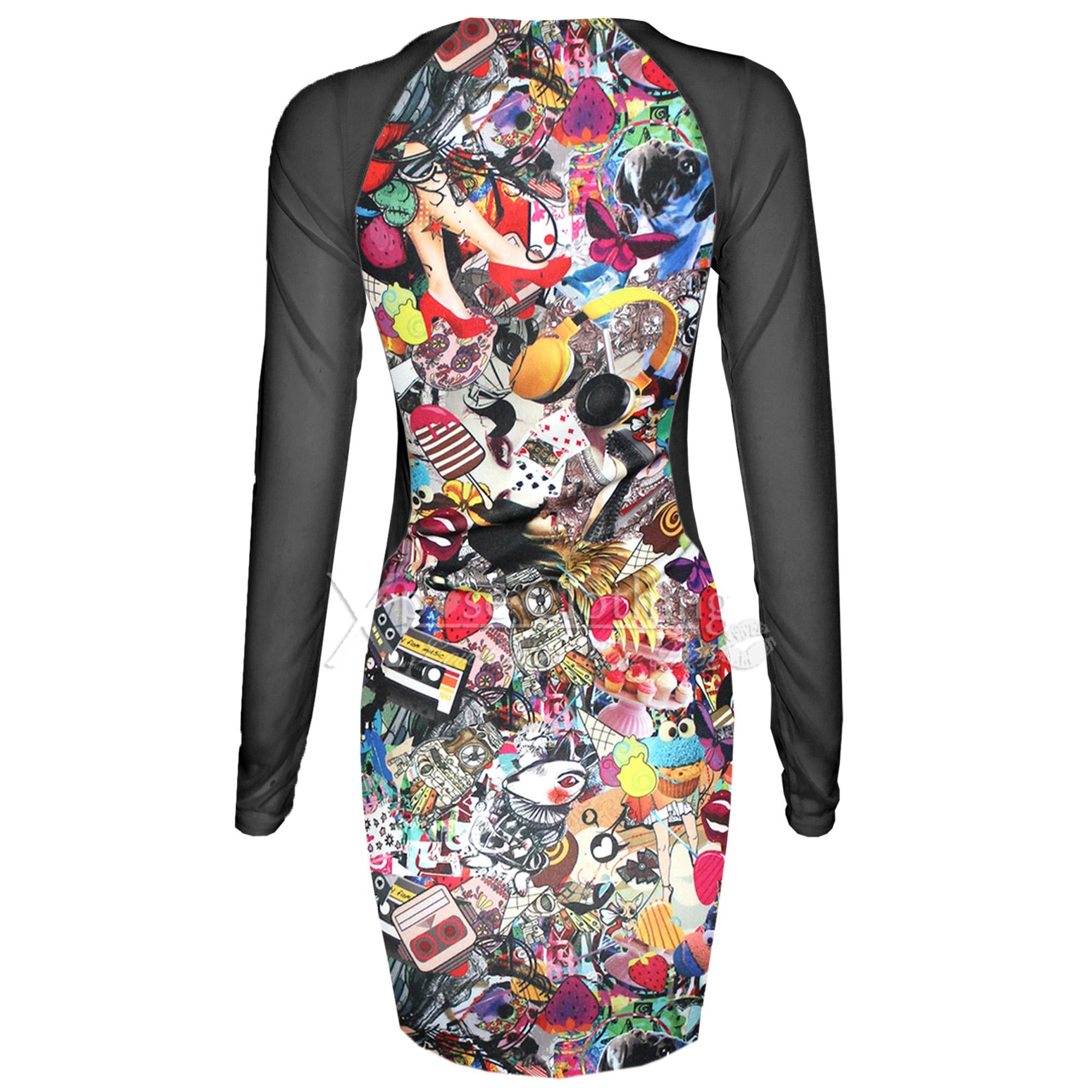 WOMENS LADIES FUNKY PRINT MESH SIDE MINI DRESSES SLIMMING EFFECT ...