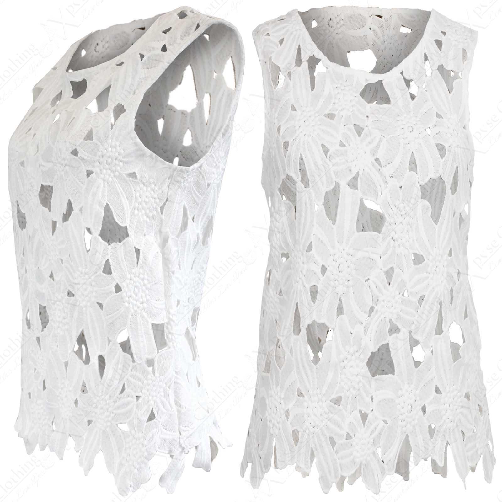 floral femmes ornement crochet d coupe sans manche ourlet haut blanc ebay. Black Bedroom Furniture Sets. Home Design Ideas