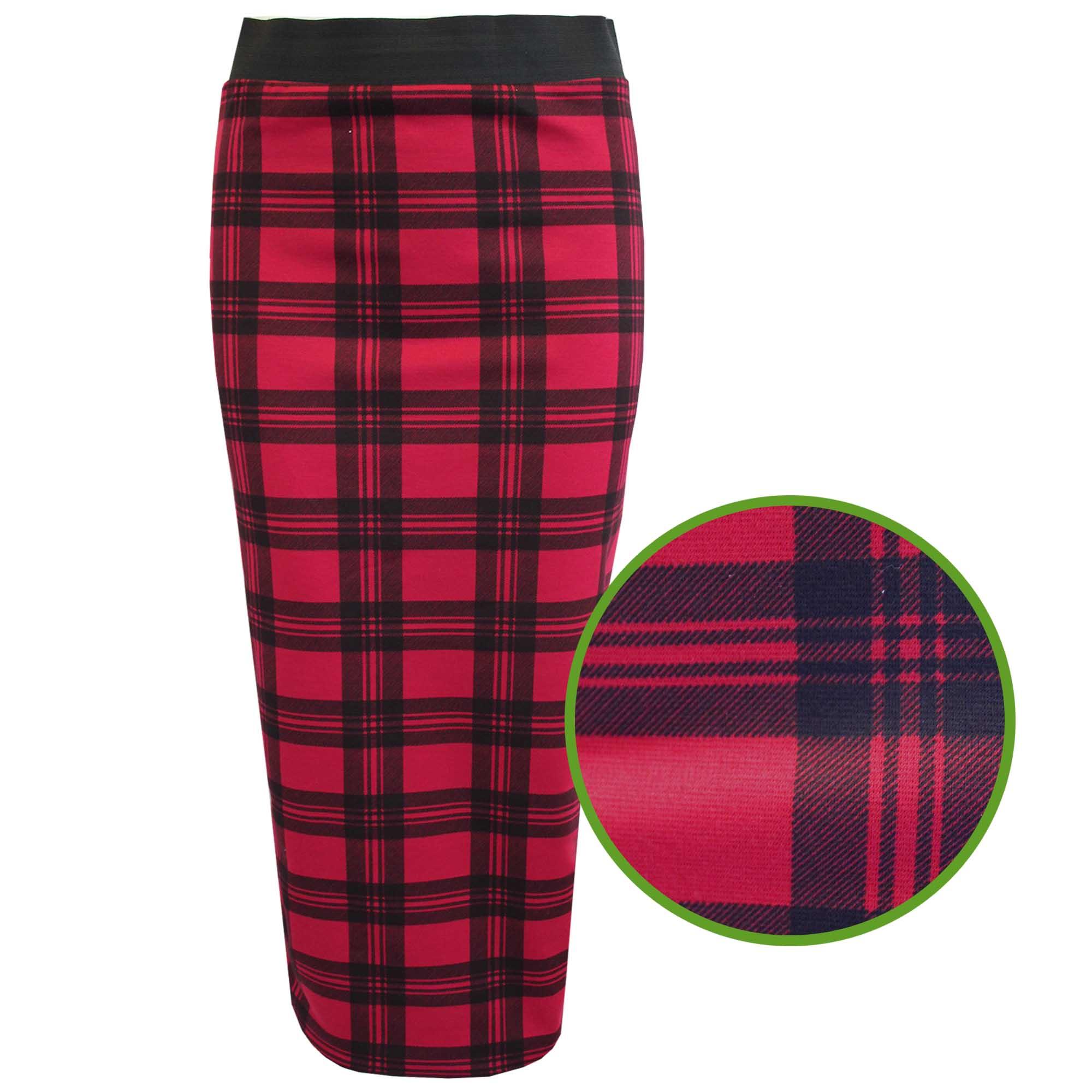 new womens tartan check print pencil skirts