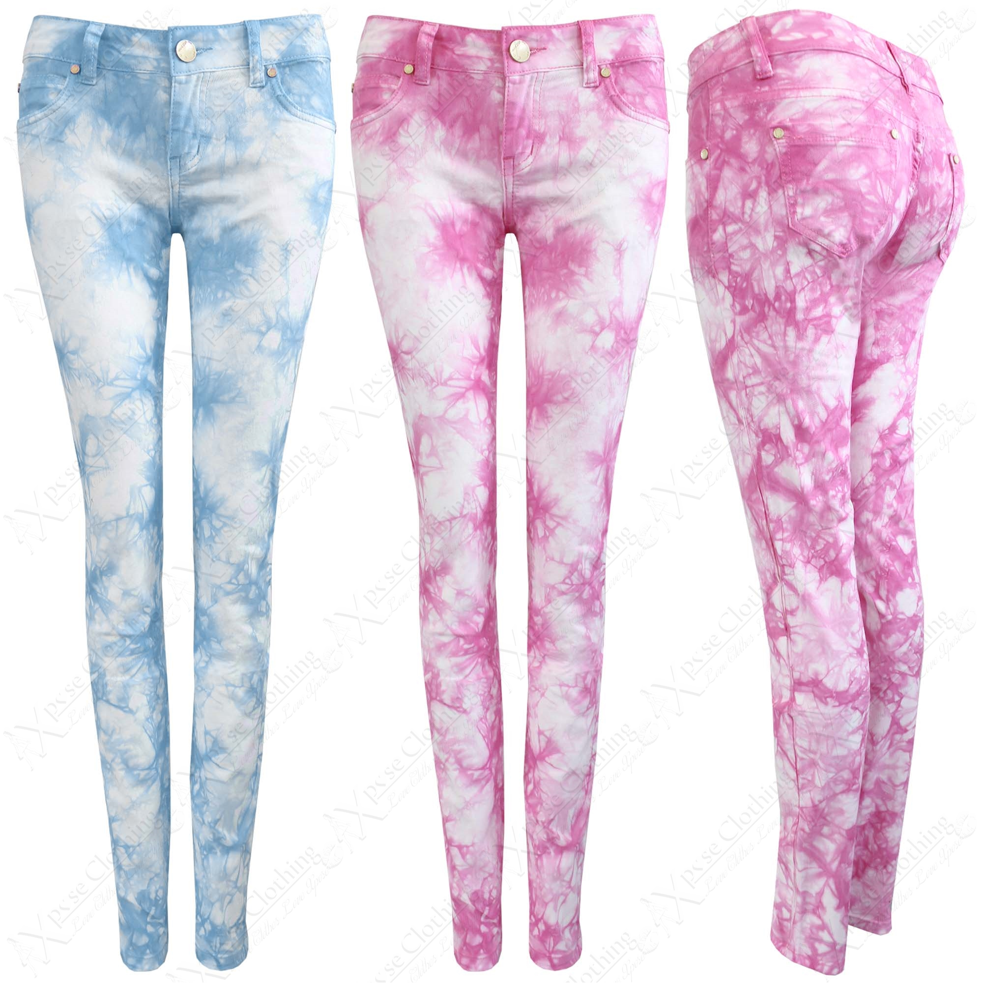 NEW LADIES TYE DYE DENIM JEANS WOMEN COLOUR SKINNY LEG STRETCH FIT ...