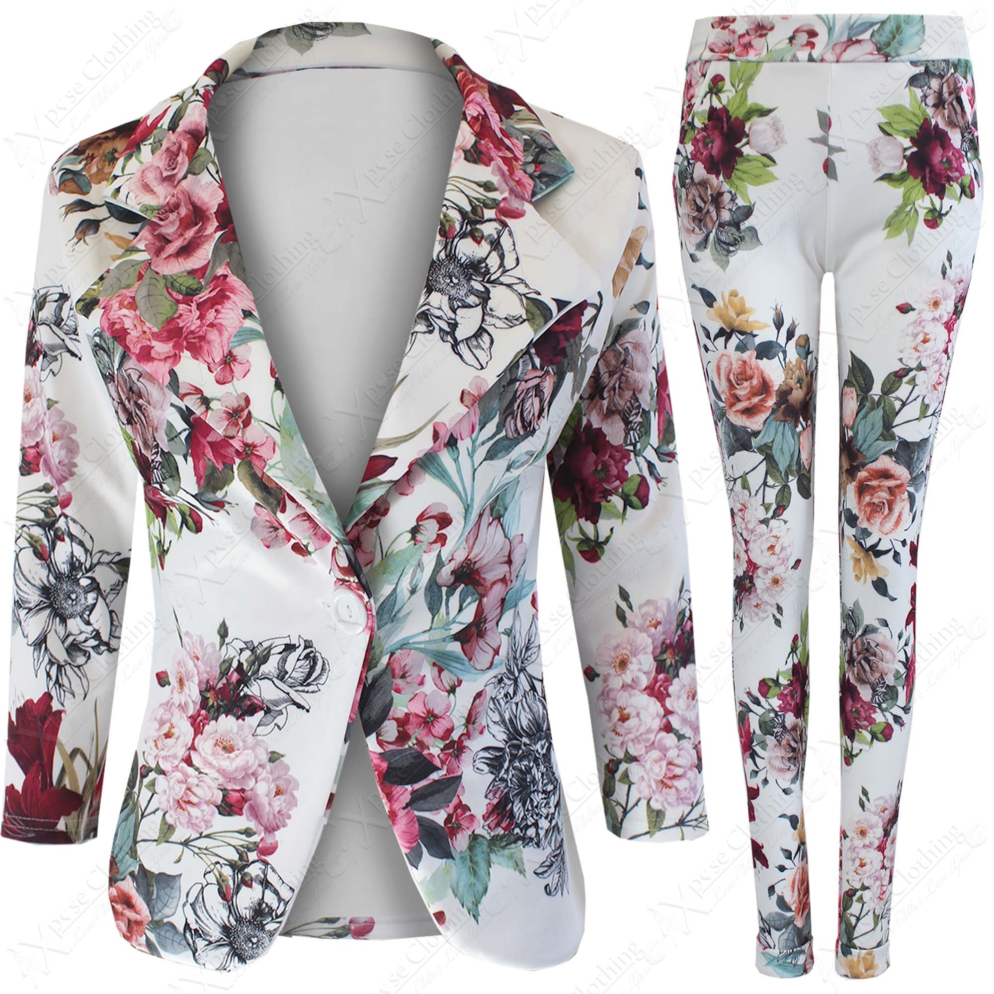 NEW LADIES FLORAL PRINT BLAZER TROUSERS SUIT WOMEN JACKETS TAPER ...
