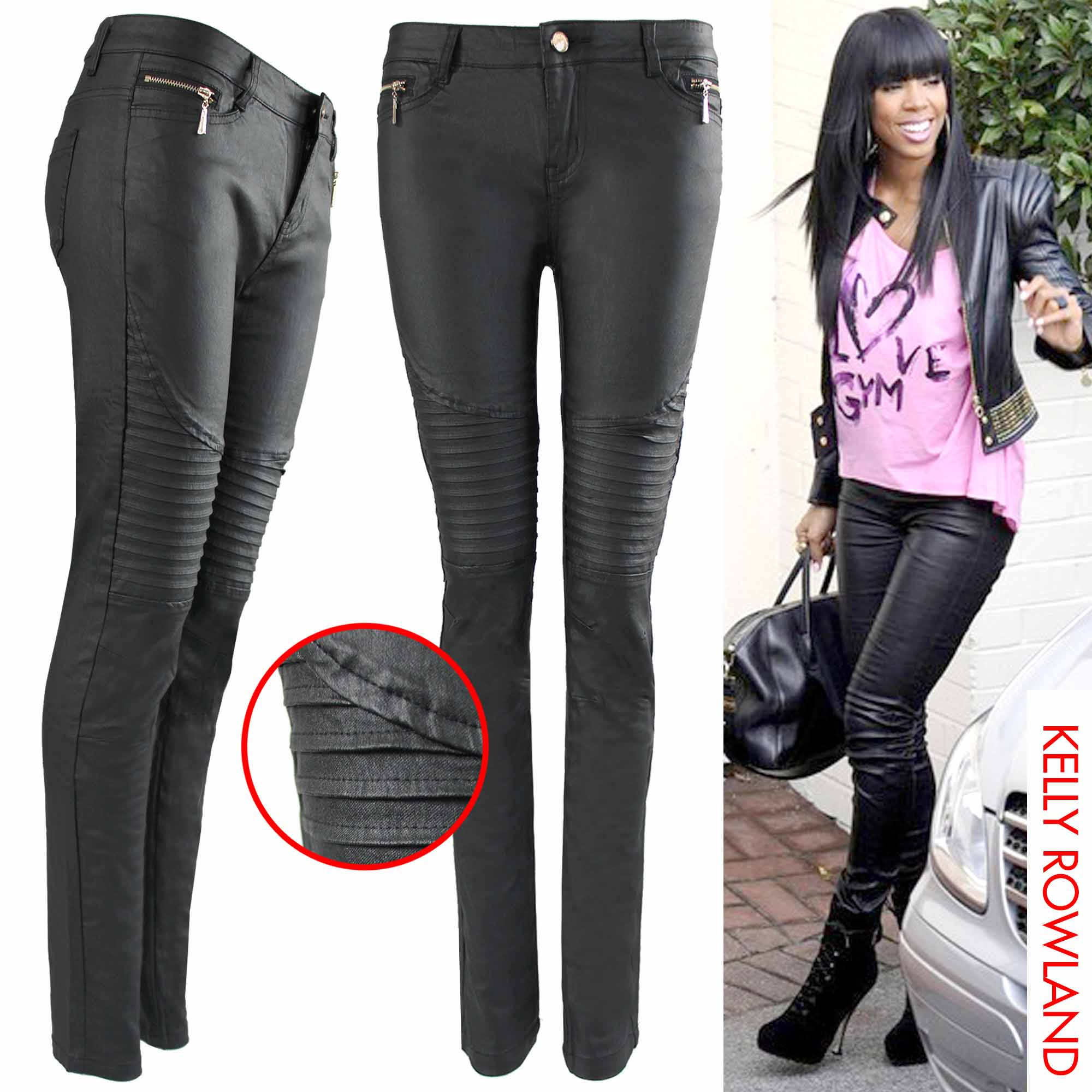 NEW WOMENs LADIES PU BIKER RIB ZIP JEANS LEATHER LOOK SKINNY ...