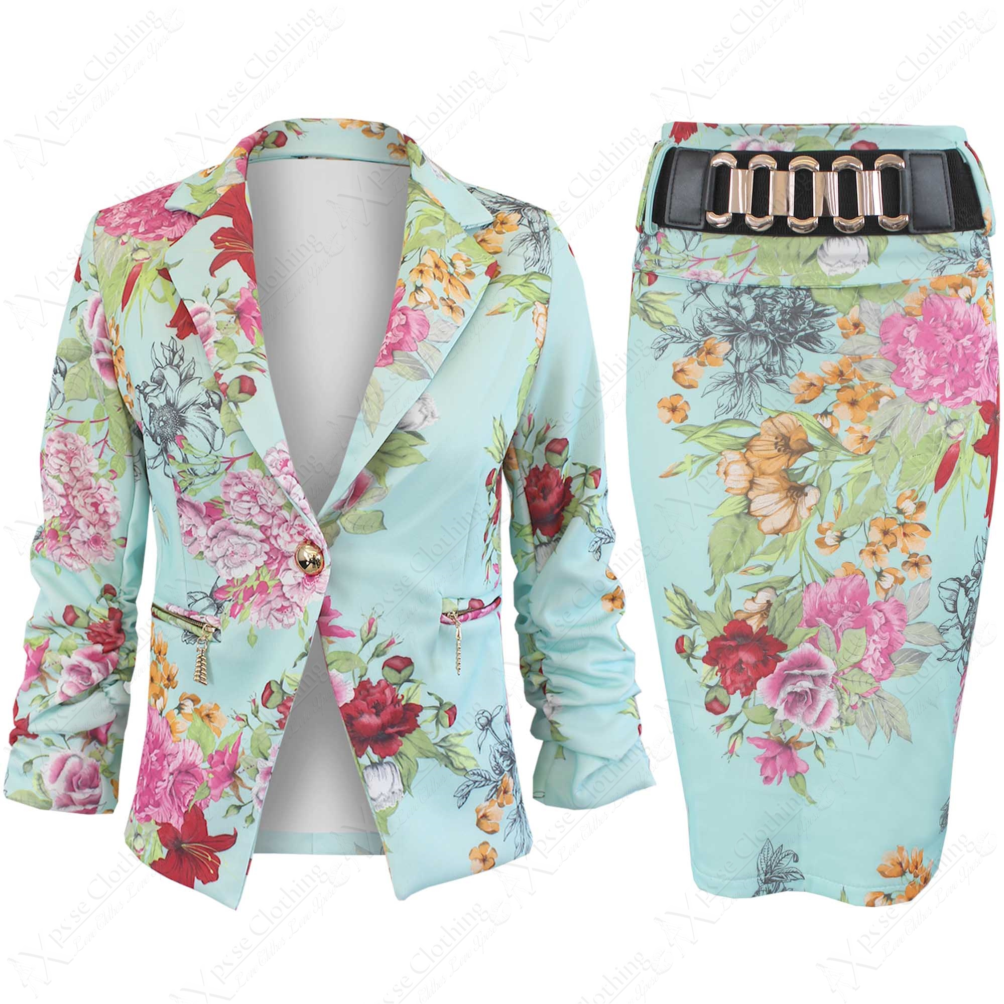 NEW LADIES FLORAL PRINT BLAZER PENCIL LOOK SKIRT WOMENS JACKET TOP ...