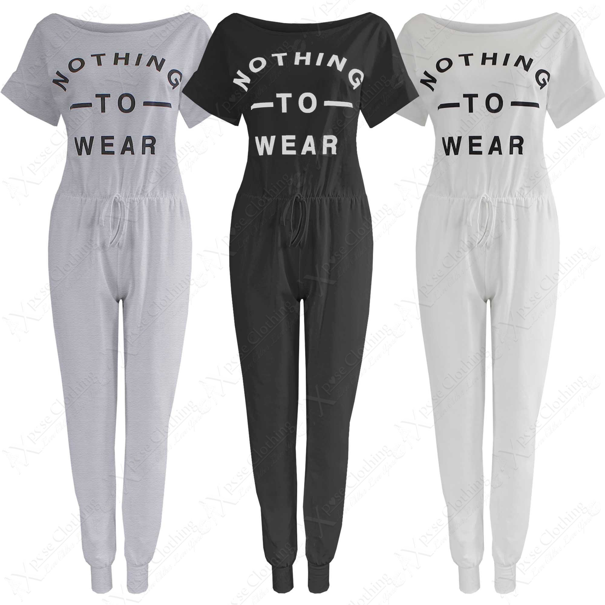 NEW LADIES NOTHING TO WEAR JUMPSUIT WOMEN JERSEY ONESIE ALL IN ONE ...