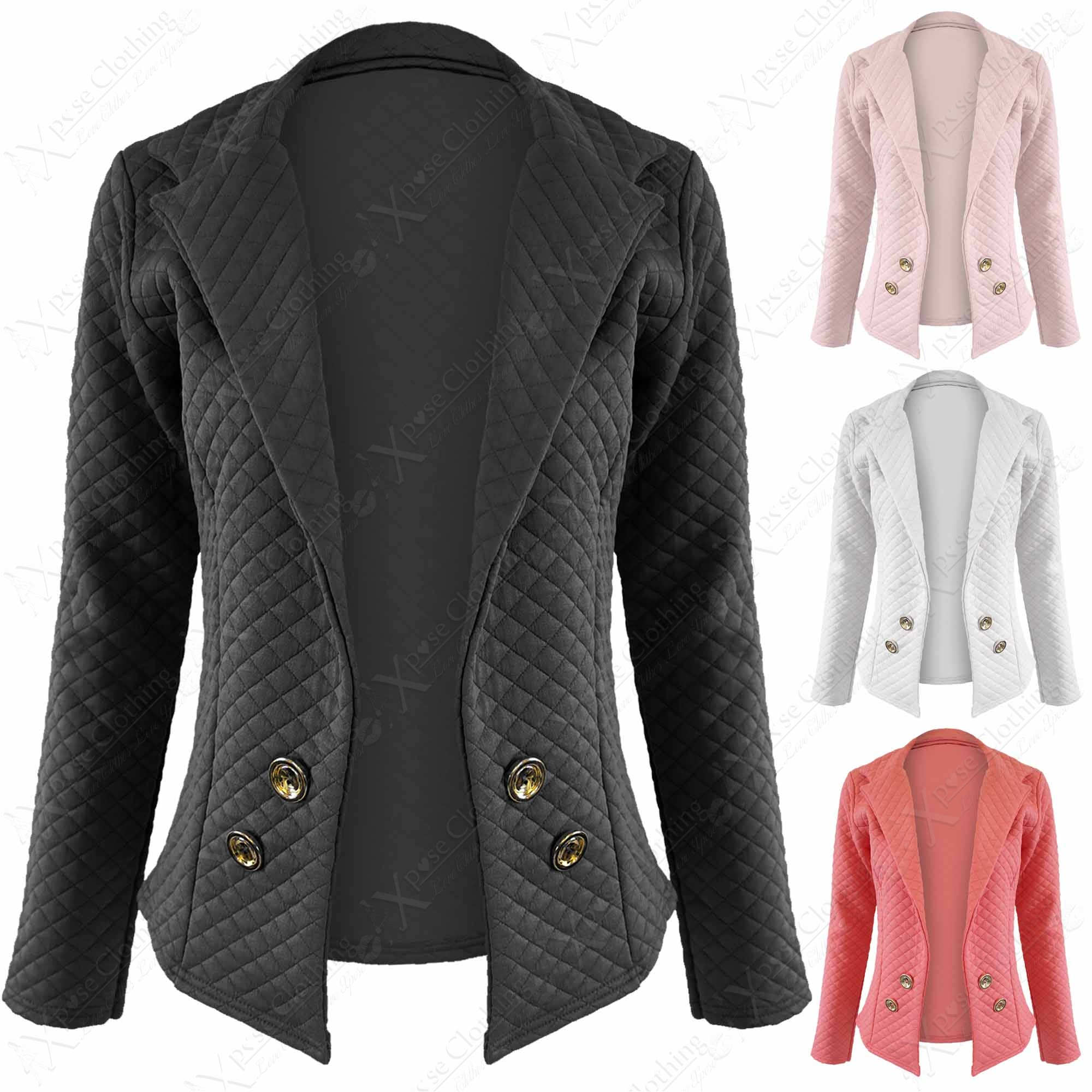 Quilted Blazers: NEW LADIES QUILTED BLAZER WOMENS LONG SLEEVE BUTTON FRONT