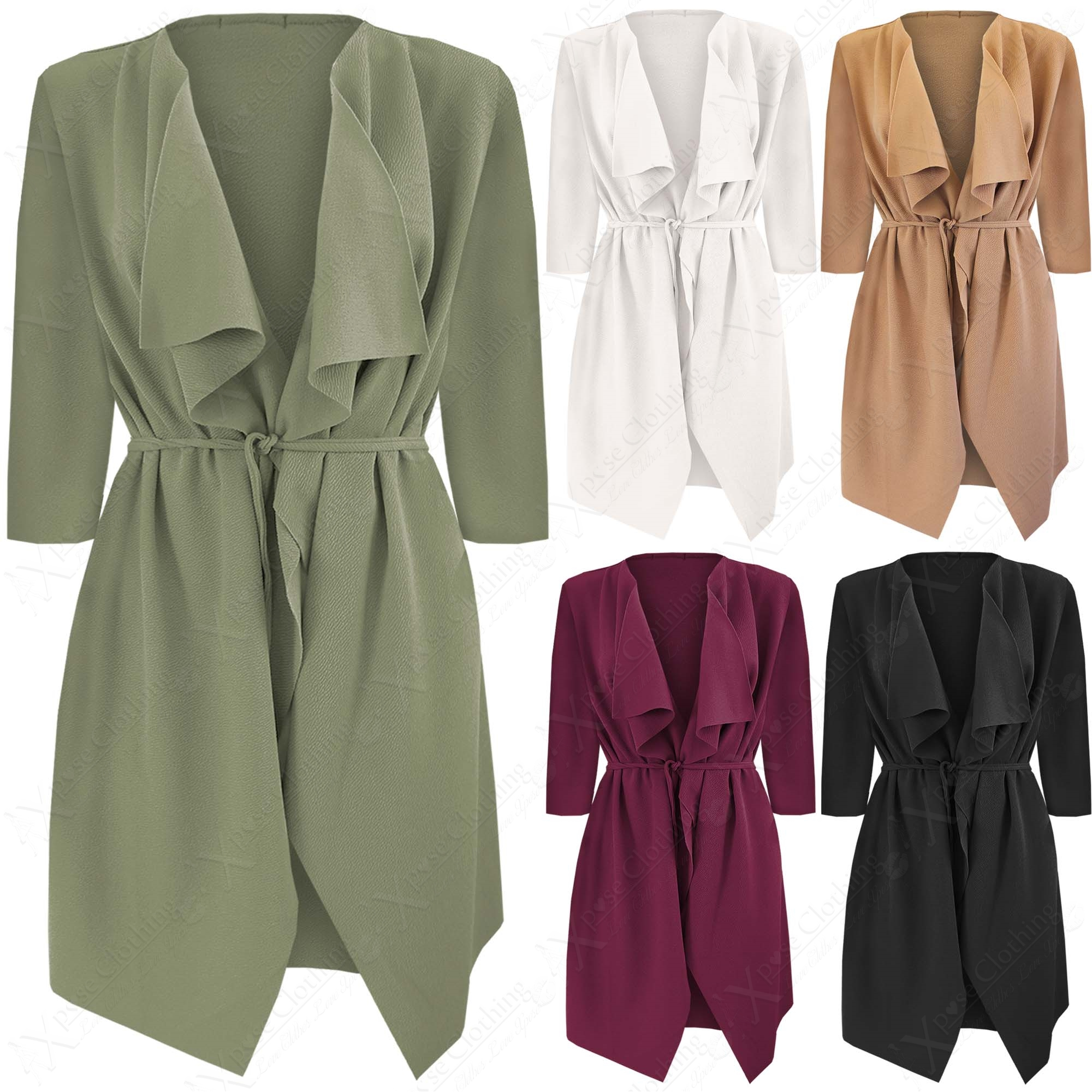 WOMENS 3/4 SLEEVE WATERFALL DUSTER JACKET LADIES BELT COAT LOOK ...