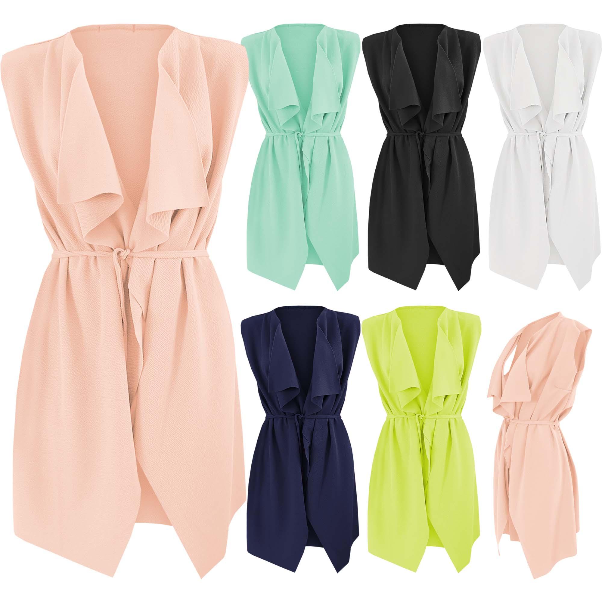 femme long chute d 39 eau veste duster femmes sans manches ceinture gilet look haut ebay. Black Bedroom Furniture Sets. Home Design Ideas