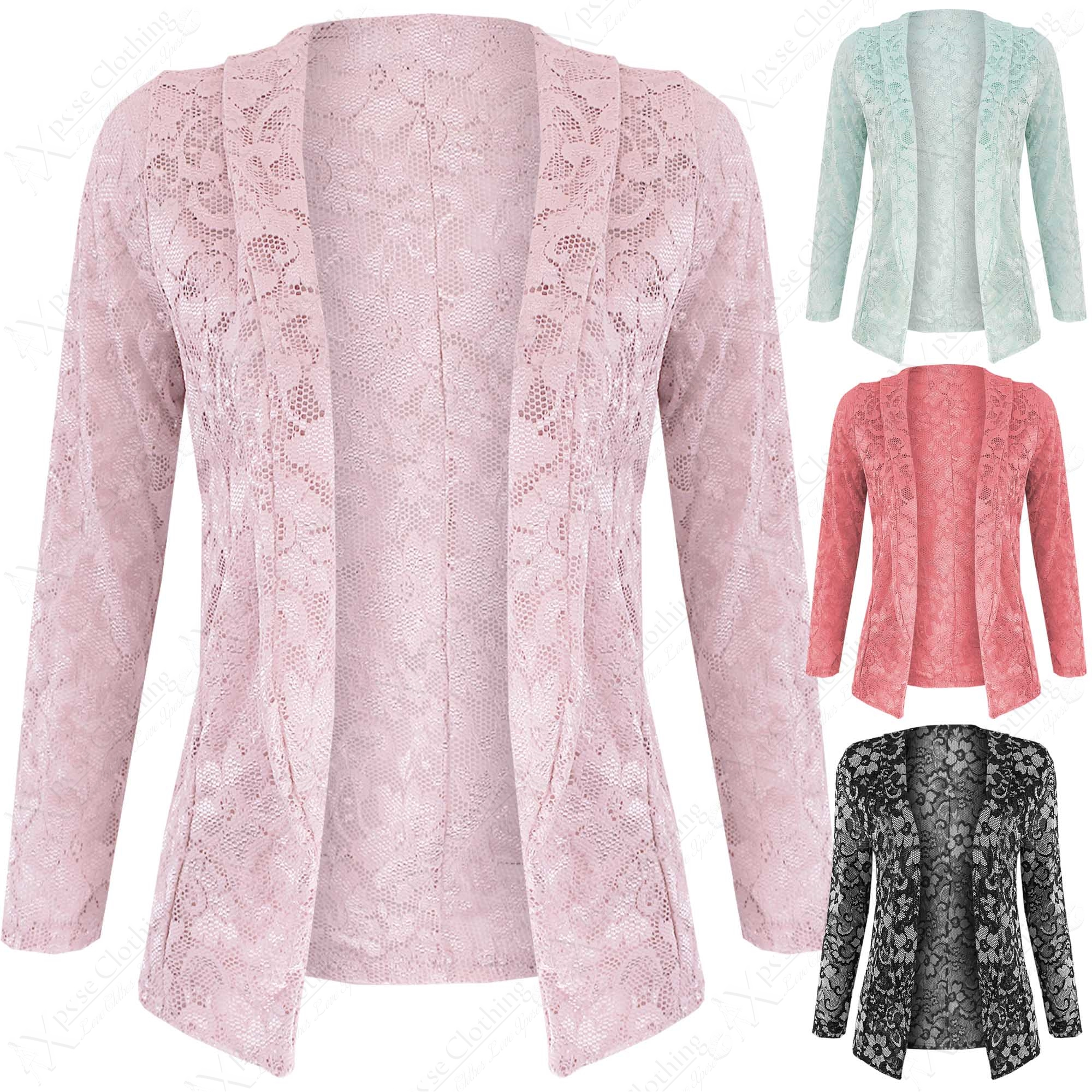 NEW LADIES FLORAL LACE BLAZER WOMENS SMART LOOK CROCHET CROP OPEN ...