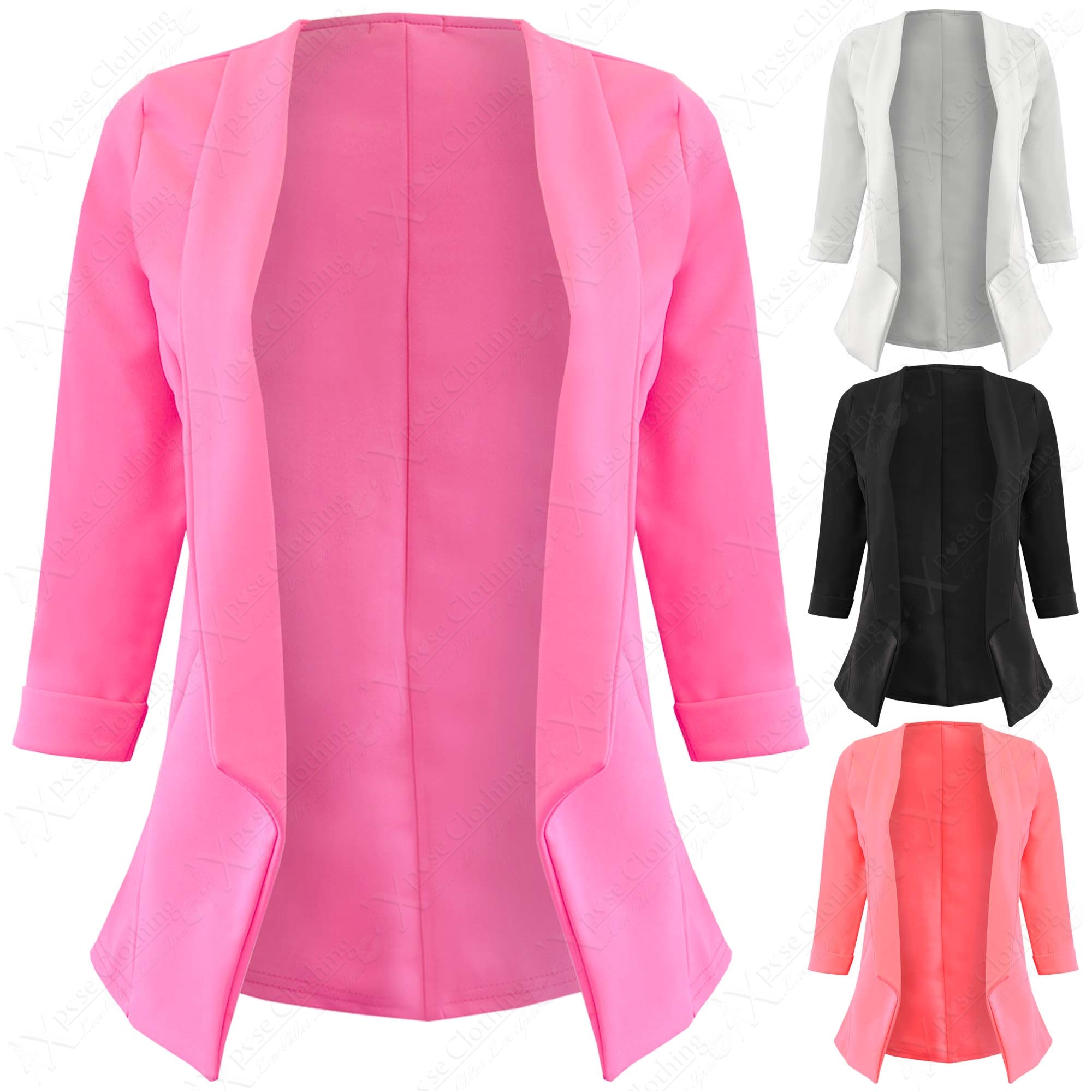 NEW LADIES CLASSIC OPEN BLAZER WOMENS SMART LOOK WORK JACKET 3/4 ...
