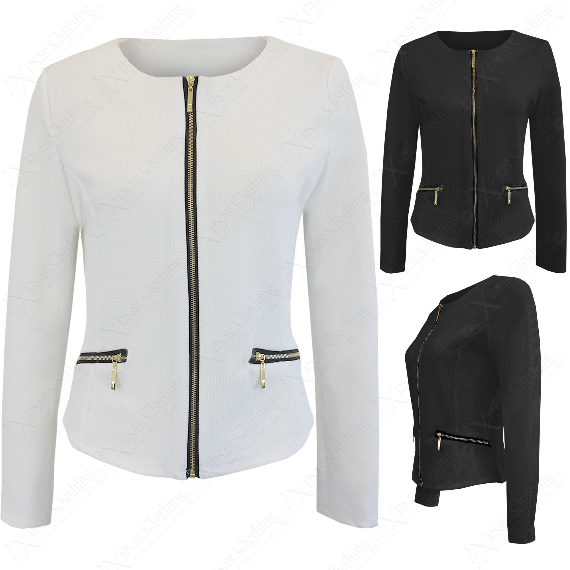 NEW LADIES TEXTURED WAFFLE BLAZER WOMENS LONG SLEEVE ZIP FRONT ...