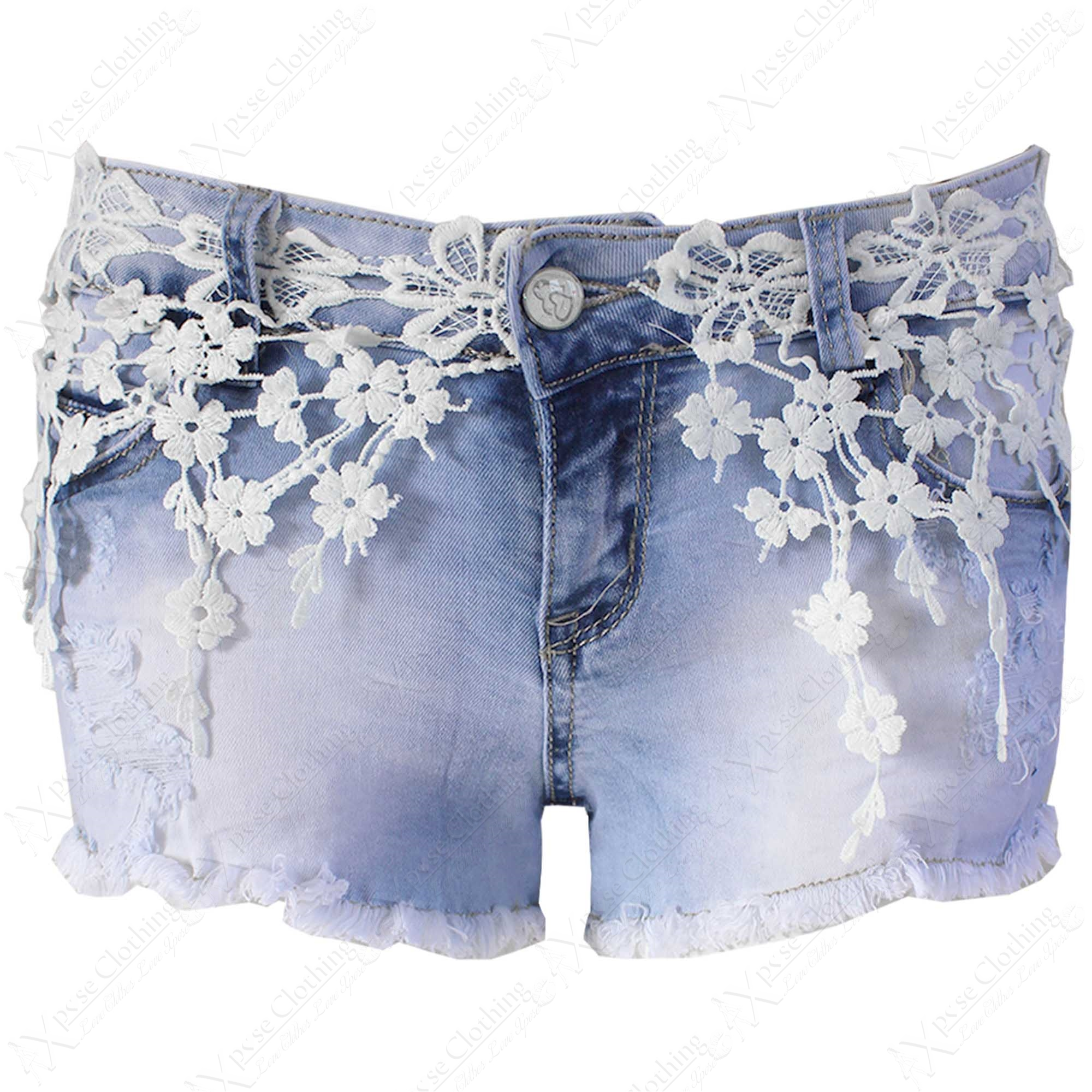 new womens denim crochet lace frayed hot pants ladies. Black Bedroom Furniture Sets. Home Design Ideas