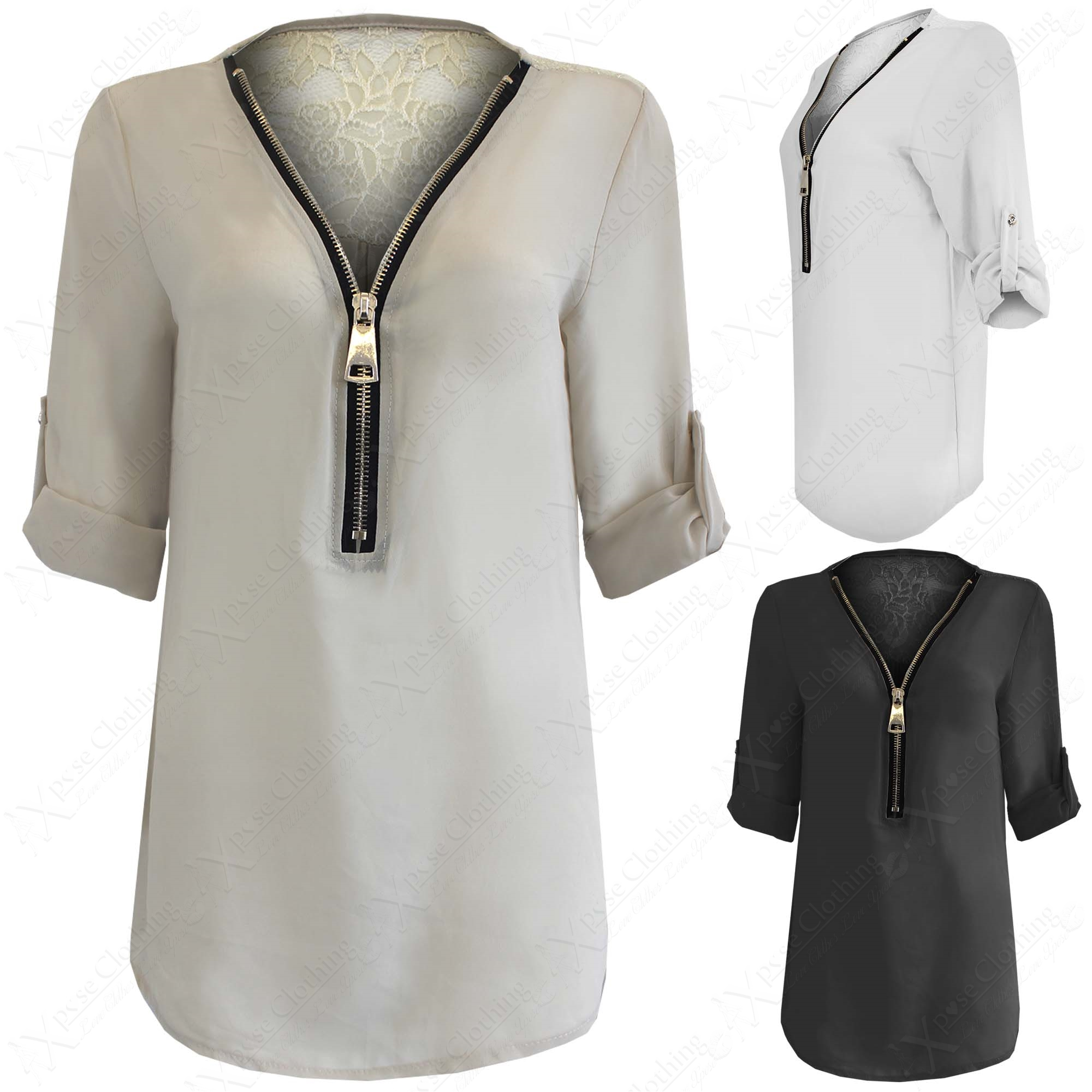 Zip Front Blouse White 103