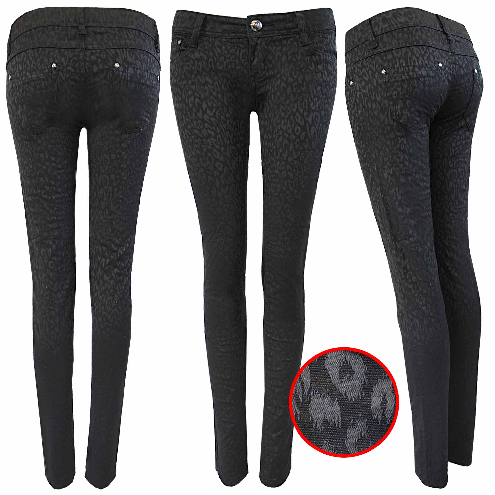 NEW WOMENS LADIES BLACK LEOPARD PRINT JEANS SKINNY STRETCH DENIM ...