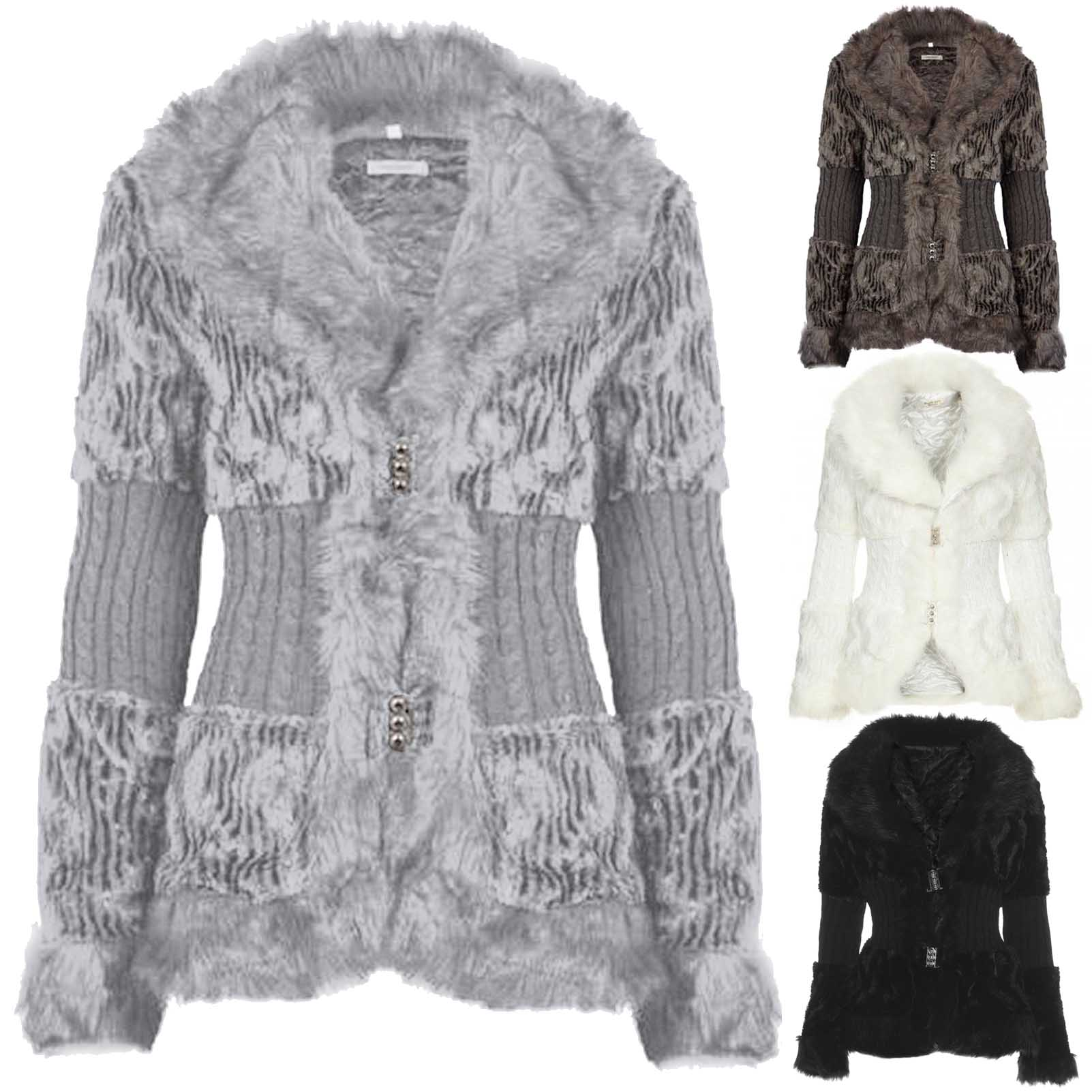 NEW LADIES FAUX FUR KNITTED JACKET CARDIGAN WOMENS LINED SOFT WARM ...
